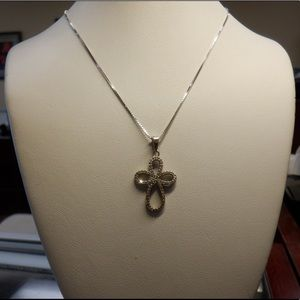 14k solid white gold chain with cross pendant.